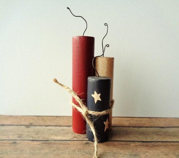 Wood firecrackers americana home decor rustic fourth of for Americana home decor