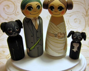 Intergalactic Love / Wedding Cake Topper / Customized Wood Peg Dolls / Couple plus 2 small pegs (perfect for children or pets) and a plaque