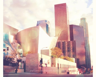 Walt Disney Concert Hall photo, Los Angeles downtown skyline photograph, Symphony Lover, musicians, LA phil, Frank Gehry, pink baby room