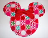 Iron On Applique Holiday Christmas Pink PEPPERMINT MINNIE Mouse With Bow