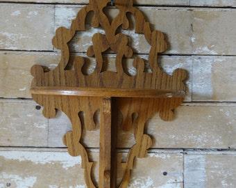 Vintage Leaf Shabby Chic Ornate Tramp Folk Art Shelf Oak