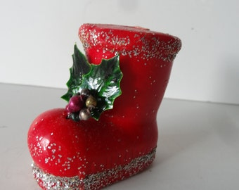 Vintage Red Boot  Wax Candle 1950's