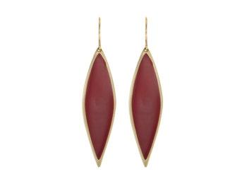 Gold Enamel Long Post Earings, Red Enamel Earings