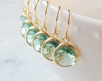 Soft green prasiolite glass and gold dangle earrings French wires Bridal earrings Bridesmaid earrings Bridesmaids earrings Wedding jewelry.