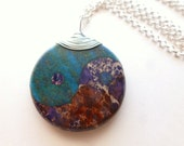 YinYang Necklace / Lapis / Chrysocolla / Jasper Stone / Circle of Life / Unusual Jewelry / Zen Pendant