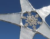 Frozen Star- Rhinestone Snowflake center with frosty glass points 9.5 inches