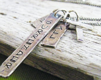 i surrender all hand stamped rustic sterling silver necklace with hand forged cross