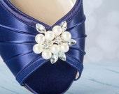 Wedge Wedding Shoes - Peep Toe Ivory Shoes - 1 Inch Wedge Heel - Choose From Over 100 Shoe Colors - Outdoor Wedding Shoe - Barn Wedding