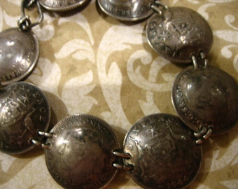 Vintage Australian Sterling Six Pence Trench Art COIN Bracelet WW11 Era Coins