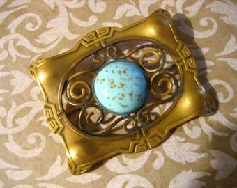 Antique Art Nouveau Edwardian Sash Pin Brooch w Art Glass Cabochon