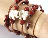 Elephant jewelry lucky white elephant bracelet memory wire bracelet white stone elephant lover gift lucky elephants bracelet
