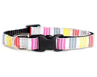 "Cat Collar - ""The Aspiring Artist"" - Red, Pink, Gray and Yellow Stripes"