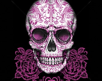 Womans T Shirt Day of the Dead Sugar Skull With Pink Roses 16394