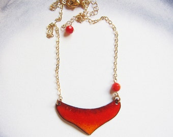 Red crescent heart necklace Unique gold and red enamel bib necklace Enameled artisan jewelry