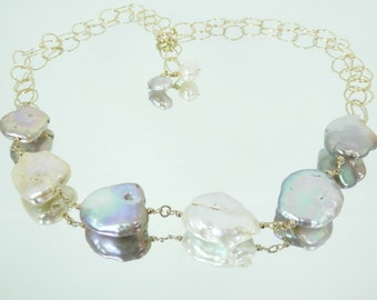 Large Baroque Mauve and White Pearl Gold Filled Chain Necklace