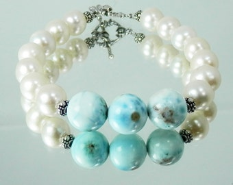 Larimar, Pearl and Sterling Silver Bracelet