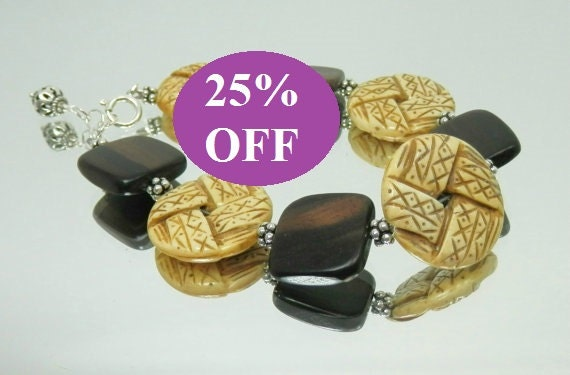 NOW 25% OFF - Carved Bone, Wood and Sterling Silver Bracelet