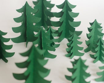 Set of 12 Christmas Tree Forest Decorations in mixed Size