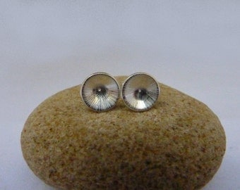 Textured dome cup stud earrings: Handmade, sterling silver