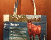 VALUE PRICED, Extra Large Long-handled Upcycled Recycled Repurposed Grocery  Market Tote or Gift Bag for Horse Lovers