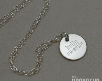 hello sweetie round engraved charm necklace