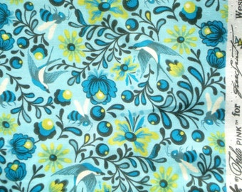 Birds and the Bees Tula Pink Little Bits pool aqua Free Spirit fabrics FQ or more