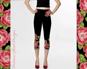 Spandex Capri leggings black ground with border and hip placement print in Alpen Rose design pattern by Maine artist Patricia Shea