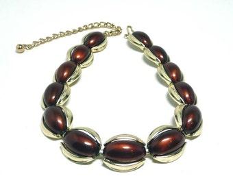 Vintage Kramer Lucite Necklace - Brown Choker