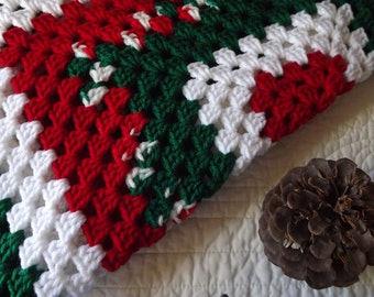 Crocheted Classic Style Granny Square Holiday Christmas Blanket Red Green and White