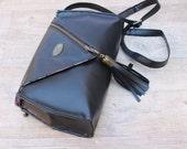 Black Fake Leather Clutch. Cross Body Purse. Woman Handbag. Chic Purse w/ Adjustable Strap. Cinderella Clutch. FREE SHIPPING