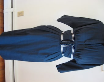 60's Wiggle Dress Madmen Look Secretary Dress Empire Waist Dress Bustier Waist Dress Blue and White Cupcake