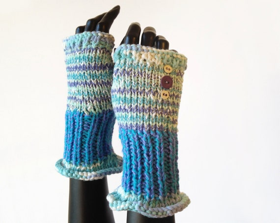 Fingerless Mittens • Spearmint Frilly Fingers - Hand Warming Minty Blue Fingerless Mitten - Elegant Blue Winter Gloves - Fingerless Glove