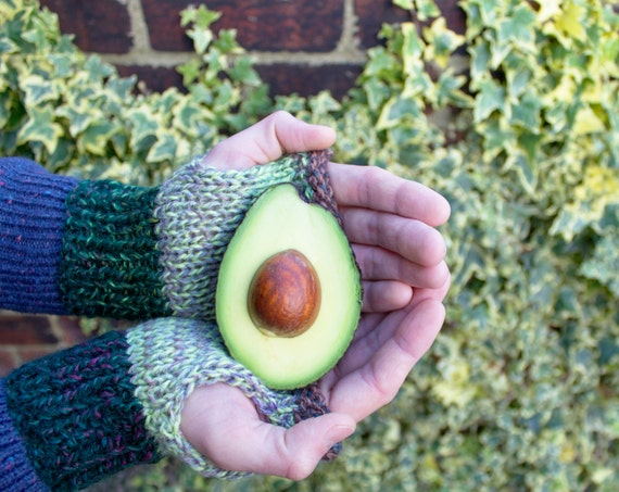 Avocado Buskers' Mittens - Unisex Fingerless Mittens - Green Fingerless Gloves for Men or Women - Green Mittens - Working Hands / Busy Hands