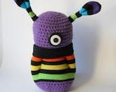 crocheted monster toy, purple Amigurumi alien plushie