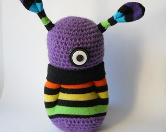 sale, crocheted monster toy, purple Amigurumi alien plushie