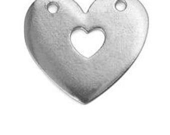 Pewter Stamping Blank-Heart with Hole Cut Out-1 in. x 1 in.- Impressart