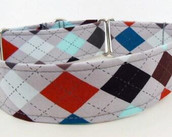 Argyle Adjustable Martingale Dog Collar - Made to Order -