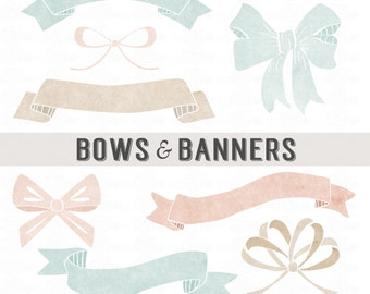Watercolor BOWS & BANNERS // PNG Files - Photoshop Brushes // Photo Overlays // Photography - Logo // Personal-Use // Instant Download