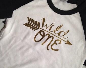 Wild One First Birthday Shirt Raglan Shirt First Birthday Gold Hipster Shirt Kid Hipster Wild One Birthday Shirt Wild and Free Gold Birthday