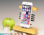 Dock and charger.. Fits ANY iPhone. Ash wood and steel. 284. Mid Century Modern. Art Deco. Mission furniture.