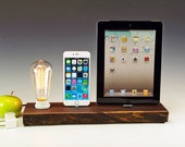 Real wood double charger docking station with lamp for ANY generation iPhone, iPod and iPad.. 717. Natural live edge walnut plank.
