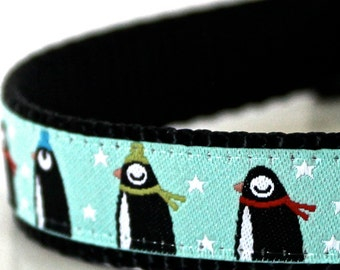 Penguin March Dog Collar, Adjustable Ribbon Collar, Mint Green Pet Collar, Winter Dog Collar