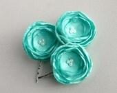 Mint Green Flower Hair Pieces, Green Bridal Hair Accessory, Mint Green Flowers For Hair, Wedding Hair Pins, Flower Hair Clip, Bridal Party