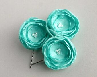 Mint Green Flower Hair Pieces, Bridesmaid Green Hairpieces, Mint Green Flower, Floral Hair Pieces, Wedding Hair Pins, Flower Hair Clip