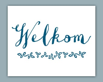 Welcome Typography Art Print, Afrikaans, South Africa, Welkom