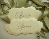 Wedding Chair Signs Sposa and Sposo is Italian for Bride and Groom Elegant Vintage Label Design for the Bride and Groom Chairs