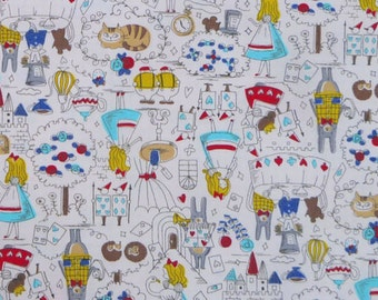Fancy Alice Story  Alice in Wonderland   Lolita Japanese Fabric  Oxford  Blue  50cm