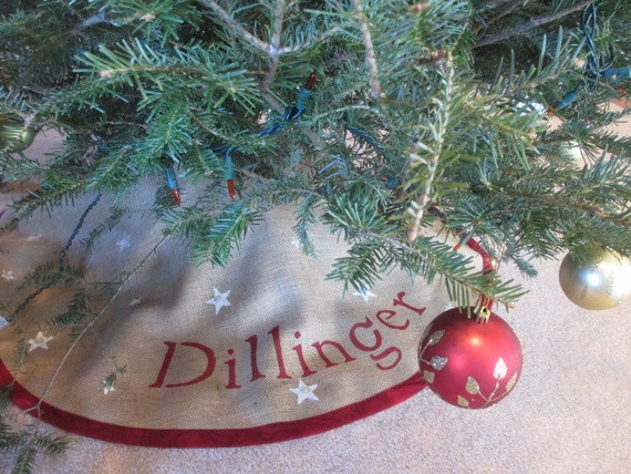 Red personalized burlap Christmas tree skirt with stars