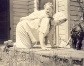 Mother Gives Her Daughter a PIGGY BACK RIDE In This Tender Photo Postcard Circa 1910
