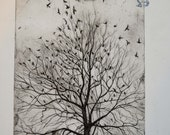 From flight, an original hand pulled etching with Chine-collé detail